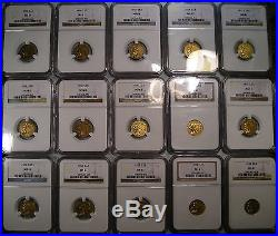 1908-1929 Indian Head $2.5 Gold 1/4 Eagles Complete Set 15 Coins All Ngc Ms 61
