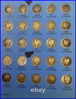 1916 1945 Complete Mercury Silver Dime Collection 77 Coin Set in Whitman Album