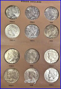1921-1935 Complete Us Peace $1 Dollars About Uncirculated Coins Dansco Album Set