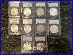 1921-1935 Peace Silver Dollar PCGS MS64 & MS63 COMPLETE YEAR SET 10 COIN BEAUTY