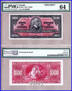 1937 Bank of Canada Complete Specimen Set 8 Notes $1-$1000 PMG CH UNC64