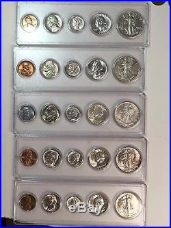 1941-1945 COMPLETE WWII CH/GEM BU 25 Coin SET SILVER 50c/25c/10c 5c/1c
