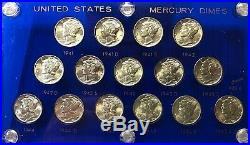1941-1945 Complete Mercury Dime Short Set Very Choice To Gem Bu