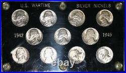 1942-1945 Choice to Gem Brilliant Complete P-D-S Silver War Nickel Set