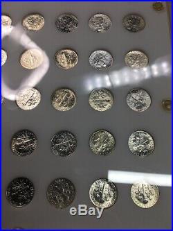1946-1964 Complete Roosevelt Dime Silver Set 48 Bu Dimes In Capital Plastics
