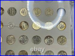 1946-1968 ROOSEVELT Dime Rainbow Toned GEM BU Complete Silver 48 Coin Set 10c