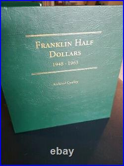 1948 1963 50c Franklin Silver Half Dollar Set With Proofs Album Complete