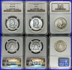 1948-1963 Franklin Half Dollar Complete Year Set (17 coin) NGC PCGS MS AU XF VF
