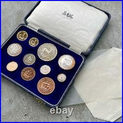 1958 South Africa with Gold Coin Complete Proof Set! Mintage 515 Sets! Toning