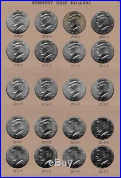 1964 2018 P and D Kennedy Half Dollar Set BU and Satin Complete-Dansco Album