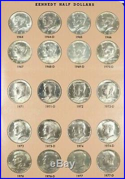 1964-2019 P-d Kennedy Half Dollar Complete Set In Dansco Album Bu/au 104 Coins