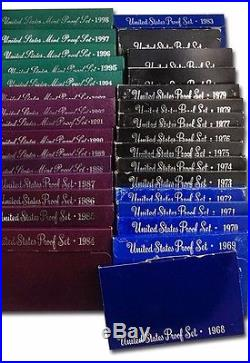 1968-1998 First 31 Years Proof Sets Complete Set San Francisco Mint OGP & COA's