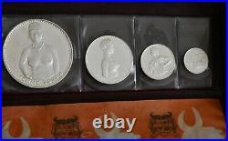 1971 Dahomey Complete 4 Coin Silver Set in Original Wallet 1000 500 Francs +