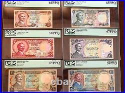 1975 1985 Jordan complete set 6 PCS (2x20), Dinar banknotes UNC KING HUSSEIN