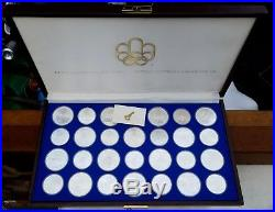 1976 CANADA OLYMPIC 28 COINS SET-Complete With Case & Key-Sterling Silver $5 & $10