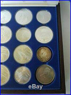 1976 Canada Olympic Silver Commemorative Coin Set with Case Complete 28 Piece