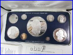 1976 Panama Proof Coin Set of 9 Complete 5.8oz Silver Balboa