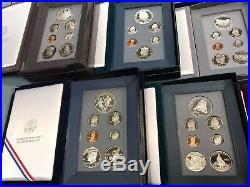 1983-1997 Prestige Proof Sets Complete 14 Set Collection Boxes and COA