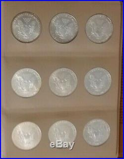 19862018 American Silver Eagle Complete Set In Dansco 33 Coins Uncirculated Nr
