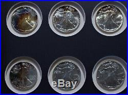 1986 2000 American Silver Eagles Complete 15 Coin Set In Frame Rainbow Toning