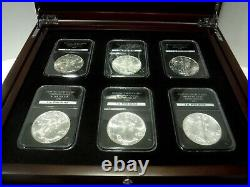 1986-2015 American Silver Eagle Complete Set30 Coins in A Wooden Collectors Box