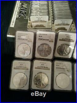 1986-2019 Complete Silver Eagle Set NGC MS69 34-Coins Storage Boxes Included