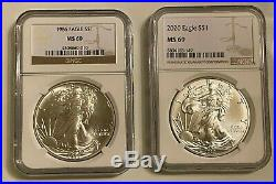 1986 2020 Complete Set 35 Coin American Silver Eagle Ngc Ms 69