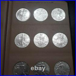 1986 2020 Complete Set of 35 American Silver Eagles in Dansco Album Unc