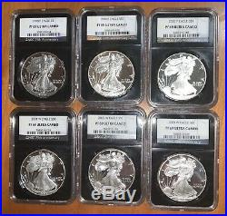 1986-2020 PF69 34 Coin Complete Proof American Silver Eagle Set NGC Retro Black