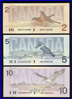 1986 Bank of Canada $2 $100 Complete Set of Bird Series Banknotes Uncirculated