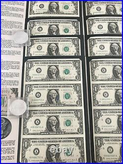 1988 $1 One Dollar Bill UNCUT SHEET OF 4 COMPLETE 12 DISTRICT SET A L UNC