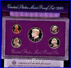 1990 Rare Complete No S Lincoln Memorial Penny Original Proof Set Deep Cameo Gem