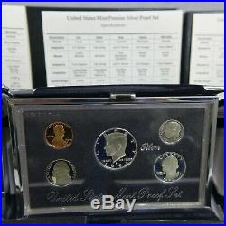 1992-1998-S Silver US Premier Proof Sets COMPLETE RUN 7 Sets US mint box and COA