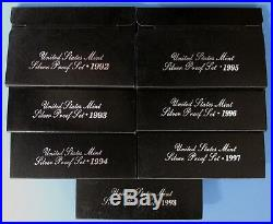 1992-S thru 1998-S Complete Silver Proof Set Collection with Boxes & COA's