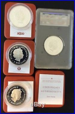 1994-2003 AUSTRALIA KOOKABURRA 2 OZ. SILVER Complete PROOF SET RARE