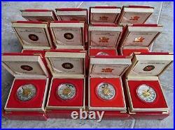 1998-2009 Lunar Coin Royal Canadian Mint Silver $15, 12 boxes Complete Set