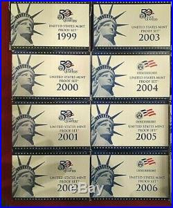 1999-2008 2009 S US MINT UNITED STATES COMPLETE PROOF 11 SETS 125 Coins Quarters