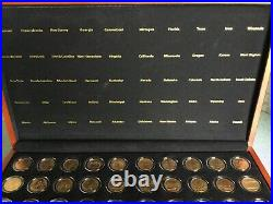 1999-2008 Complete 24K GOLD Plated Statehood Quarter 50 Coin Set Cherry Wood Box