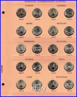 1999-2008 Complete State Quarter Set 100 P&d Bu Coins In A Dansco Album
