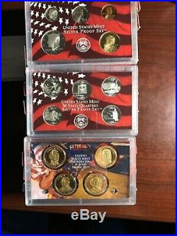 1999 2008 Complete U. S. Silver Proof Coin Set Of Ten 50 State Quarters