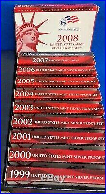 1999 2008 Complete U. S. Silver Proof Coin Set Of Ten Mint