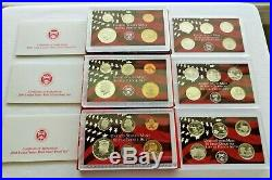 1999-2008 Silver Proof Sets Complete In Boxes Original U. S. Mint Lot of 10