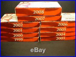 1999-2008 U. S. SILVER PROOF SETS COMPLETE WithORIGINAL BOXES & COA`S MINT