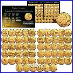 1999-2009 COMPLETE SET of ALL 56 Statehood U. S. Quarters 24K GOLD PLATED Coins