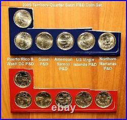 1999 2009 Complete 164 State & Territory Quarter P & D BU & Satin Set