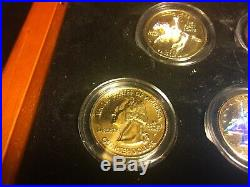 1999-2009 Complete 24K Gold Plated State Quarter 56-Coin Set in Cherry Wood