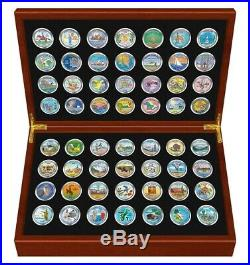 1999-2009 Complete COLORIZED State Quarters 56-Coin Set in Cherry Wood Style Box