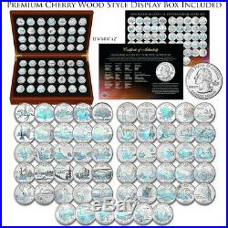 1999-2009 Complete HOLOGRAM Statehood Quarter 56-Coin Set in Cherry Wood Box COA