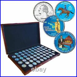 1999-2009 Complete Set COLORIZED Statehood Quarter 56Coin Set in Cherry Wood Box