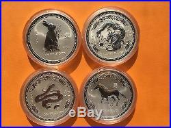 1999-2010 AUSTRALIA SILVER LUNAR COMPLETE SET 12 COINS 1OZ Series I BU
